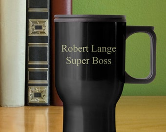 Personalized 12oz Black Travel Mug - Free Engraving