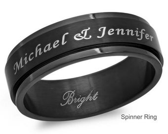 Personalized 8mm Stainless Steel All Black IP Spinner Ring