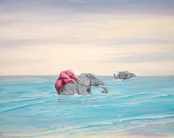 "In the Ocean 8"" x 10"" Print - 11"" x 14"" with matting. Pink Elephants"