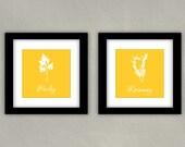 Herbs Kitchen Art Print Set - Parsley, Rosemary 8x8 (2)