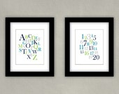 Alphabet Nursery Art Print - Numbers Print Set - Teal, Navy, Lime, Gray