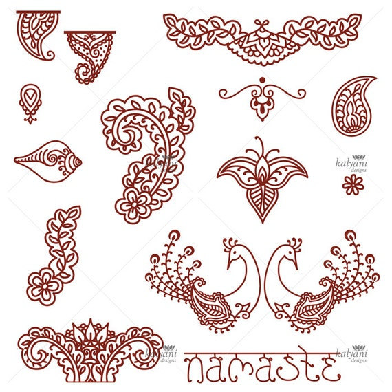 Mehndi Patterns Printable : Items similar to mehndi ornaments peacock paisley