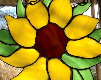 Stained Glass Sunflower Sun Catcher Wild Flower Handmade