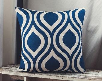 50cm Cushion Cover in Premier Prints Nicole Organic Indigo Laken Fabric.