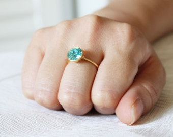 Solitaire Swarovski Crystal Ring 18K Gold Plated Ring(Sky Blue)