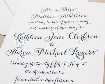 Navy Letterpress Invitation, Pink Edge Painting Thick Paper, Calligraphy Letterpress Printing, Wedding Invites, Elegant Invitations SAMPLE