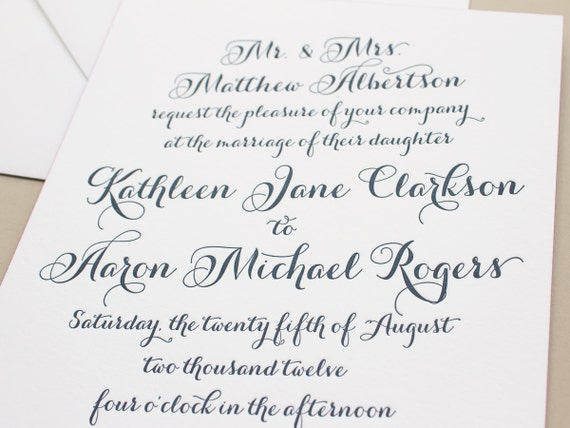 Navy Letterpress Wedding Invitation, Pink Edge Painting Thick Paper, Calligraphy Wedding Invites, Elegant Invitations SAMPLE | Merriment