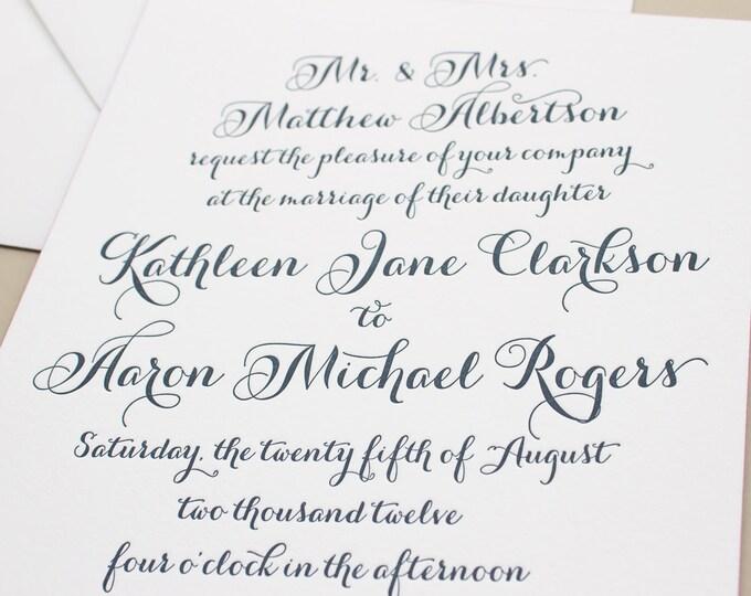 Navy Letterpress Invitation, Pink Edge Painting Thick Paper, Calligraphy Letterpress Wedding Invites, Elegant Invitations SAMPLE | Merriment