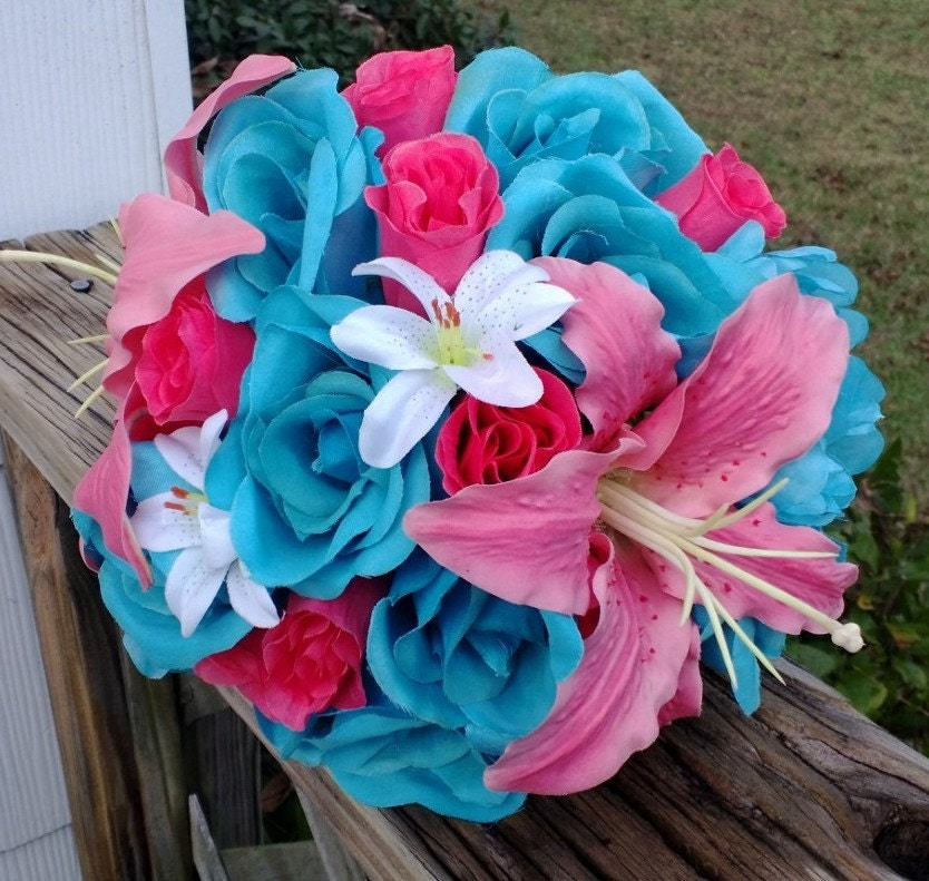 Coral And Pink Wedding Flowers: Malibu Blue Hot Pink Rose Coral Lily Wedding Bouquet Coral
