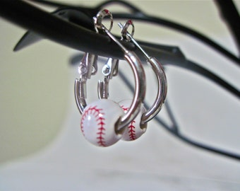 "Baseball Earings "" Baseball Tiny Cutie ""  # 1"