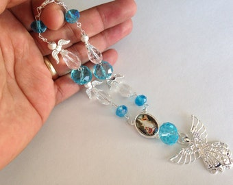 5 pc Baptism favors/ mini rosary/ recuerditos bautismo/ christening favors/ rear mirror charms/ angel sun catcher/ favor