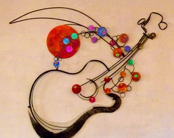 Steel Guitar Sketches Wall Sculpture