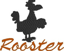 Rooster Silhouette Machine Embroidery Design with and without wording- rooster embroidery, kids, children, animals, farm, kitchen