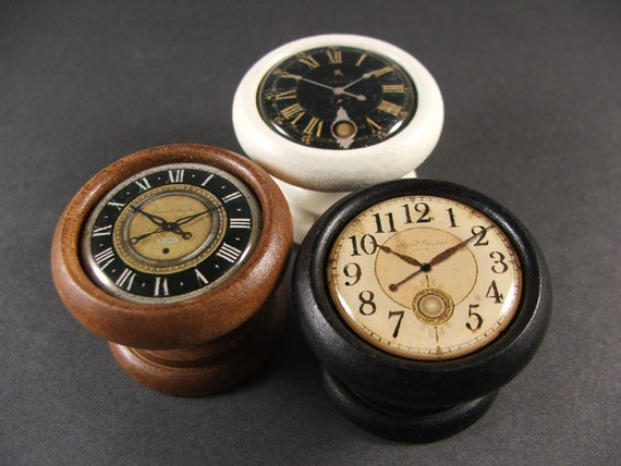 Handmade Clock Face Decorative Door Knobs, Pulls, Handles for Cabinets and Furniture...Price is for 1 Knob (Quantity Discounts Available!)