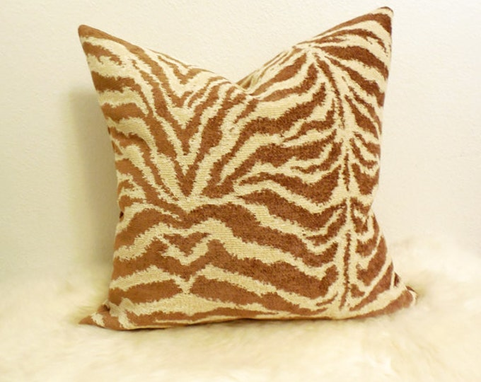 neutral tan and cream zebra print pillow cover