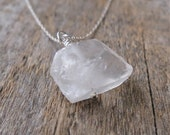 Clearance. Sale. Quartz Crystal - Raw Stone Necklace - Single stone