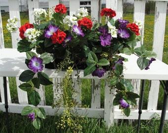Purple Azaleas, Red and White Geranium Window Box with Cascading Greens Arrg.