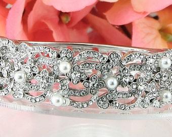 Bridal Bracelet Wedding Bracelet Silver Pearl Wedding Bracelet Bridal Jewelry Wedding Jewelry Bridal Accessories Style-118