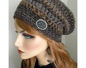 Tweed Slouchy Hat, tweed stripes, Shades of Brown, Fall Trends, Winter Hats, Boho Style Hat, Hippie Hat, Women's Slouch hat