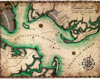 "Charleston Harbor Hand Drawn Artwork, 11"" x 15"", Civil War Era Maps, Charleston, South Carolina, Fort Sumpter, Mount Pleasant, Pinckney Map"