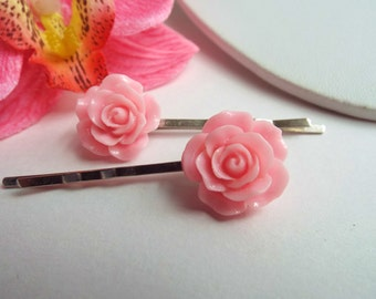 Rose hair pins Pink Flower bobby pin Pin-up barrettes Rockabilly hair accessories Bridal