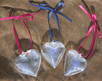 Vintage Blown Glass Heart Ornaments