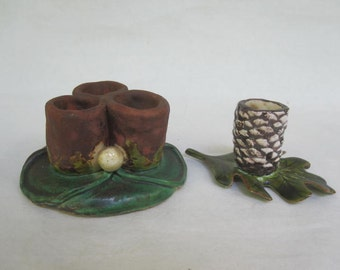 Woodland Style Pottery Candle Holders