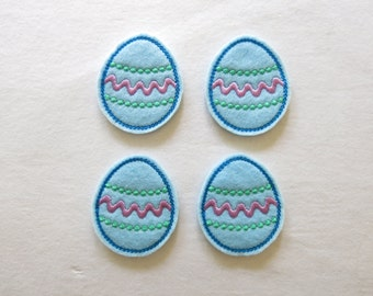 "Blue Easter Egg Felt Embellishment, set of 4, Felties, 1.75"" x 2"""