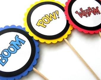 6 Superhero Phrase Centerpieces, Superhero Birthday, Boom, Wham, Pow, Superhero Theme Party, Table Decor, Cake Topper, Superhero Theme
