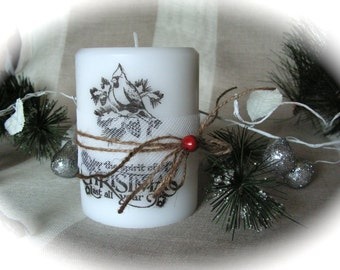 Hand Stamped Christmas  Candle , Christmas Decor