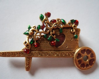 Vintage Signed Danecraft Gold pewter Flowers in Wheelbarrow Brooch/Pin