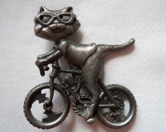 Vintage Signed AJC Silver pewter Cat on a Bike Brooch/Pin