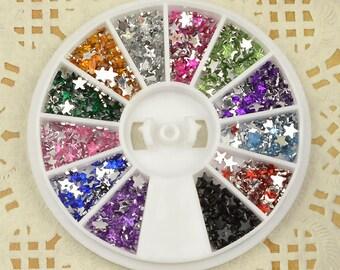 12-color 3D flatback acrylic Rhinestones of Nail Art Design Glitter Beads Crafts supplies