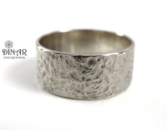 Hammered Silver Band wide Textured silver men band sterling