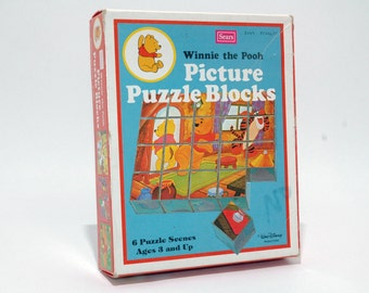 Winnie the Pooh Picture Puzzle Blocks from Sears VINTAGE COMPLETE (read description)