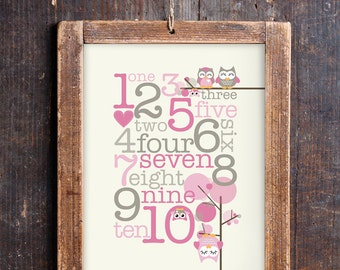 Cute Owl Numbers Print for a Baby Girl's Nursery - Instant Download Wall Art - Print at Home