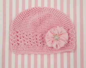 Crochet Hat with handmade chiffon flower and rhinestone