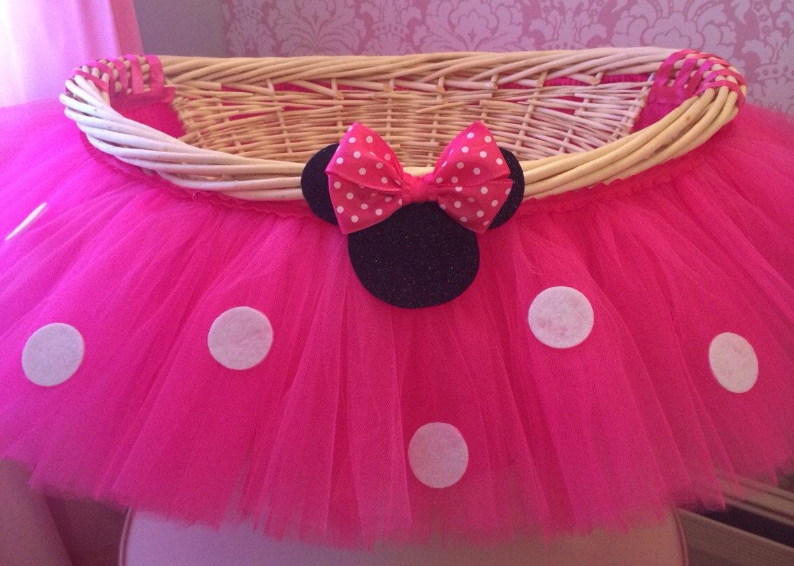 Large Hot Pink Minnie Mouse Theme Tutu Basket Birthday