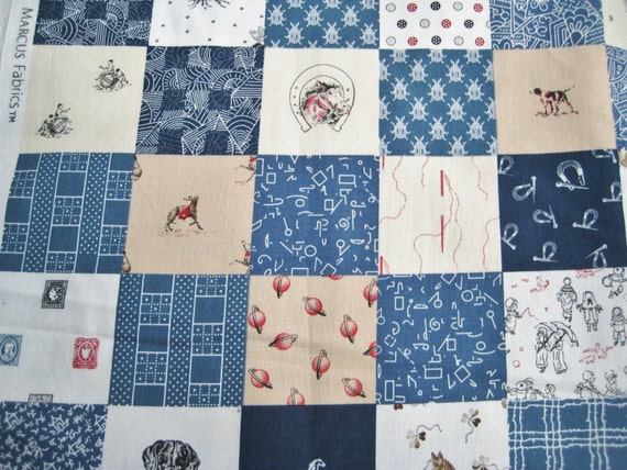 Judie Rothermel Fabric Blue Classic Conversationals Cheater Quilt By the Half Yard BTHY 45 Inches Wide 2 Yards Available