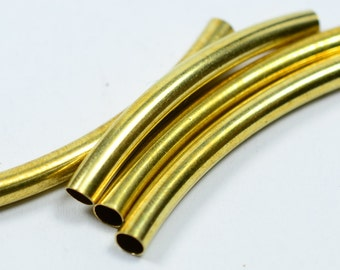 25 Pieces Raw Brass 4x42 mm Curved Brass Tube Connectors