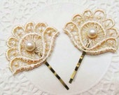 Vintage Pearl & Antique Gold Fan Flower Lace Wedding Hair Accessories Grip Clips