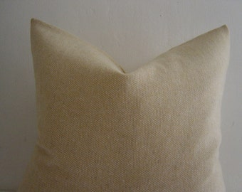 """20"""" by 20"""" Soft Gold and Natural Barley Corn Weave Wool Pillow Cover"""