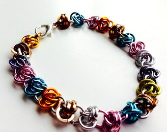 Chainmail bracelet, multi colored pastel barrel chainmaille jewelry, bright handmade chain mail bracelet made by misome
