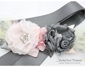 Sash Gray Pink Sash Custom Wedding Belt Bridesmaids Belt Feathers Sash Flower Sash Jeweled Beaded Sash in Light Pale Pink Grey and Ivory