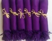 Set of 6 Eggplant Purple Shawls, Pashmina, Scarf, Wedding Favor, Bridal Shower Gift, Bridesmaid Gift, Wraps, Welcome Bags, Wedding Keepsakes