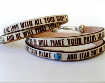 Trust in the Lord with all your heart... Proverbs 3:5-6 Daily Reminder Leather wrap bracelet