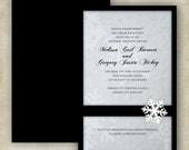 Snowflake Winter Wedding Invitation // Black + White