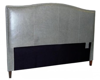 California King Size Genuine Leather Headboard in Storm Cloud Grey Leather with Pewter Nail Heads
