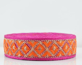 Lace Trim, Embroidered Lace Trim, Border, Indian Style, Floral, Jacquard, Geometric, Magenta, Orange, Gold Thread - 1 meter