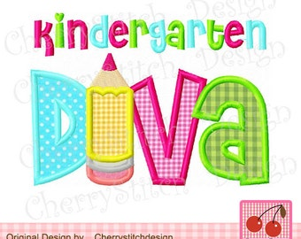 Diva Kindergarten Diva Back to School Machine Embroidery Applique Design -4x4 5x5 6x6 inch